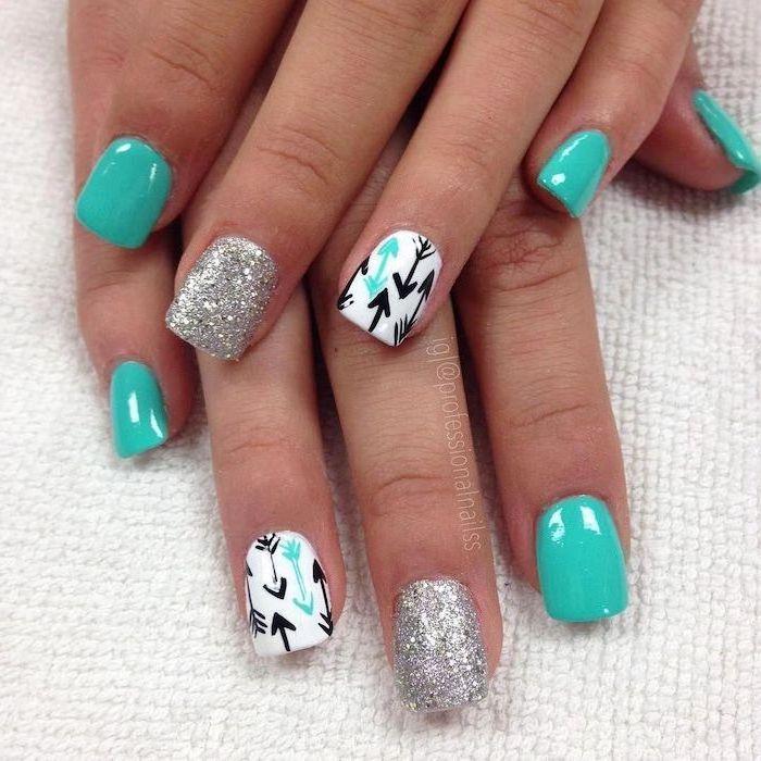 blue and white nail polish, silver glitter nail polish, vacation nails, arrows decorations, short squoval nails