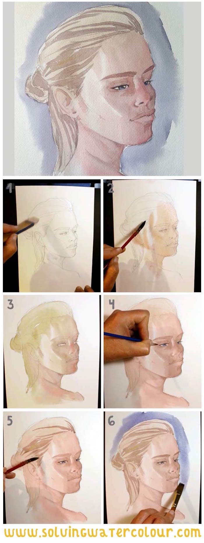 step by step diy tutorial, how to draw a girl, how to paint with watercolors, blonde girl with hair in a bun
