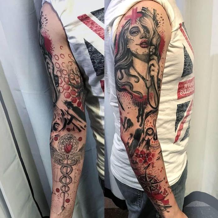 sleeve tattoo female nurse skull apothecary symbol trash polka tattoo white top with british flag