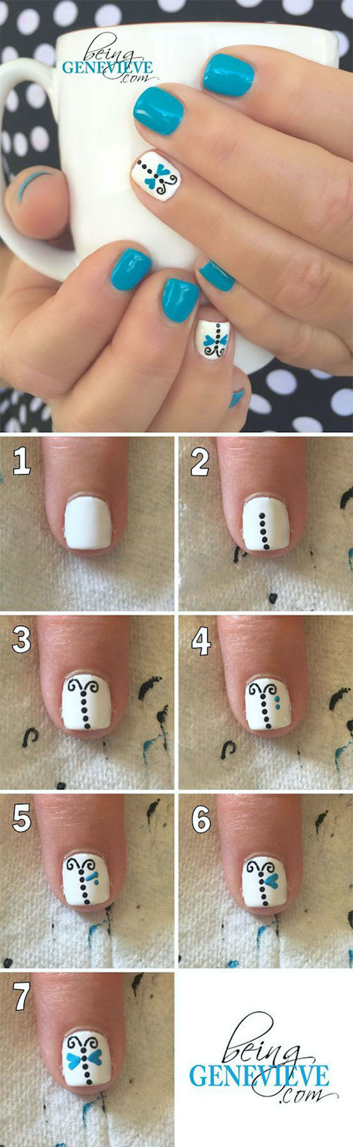 blue and white nail polish, butterflies decorations, vacation nails, step by step diy tutorial