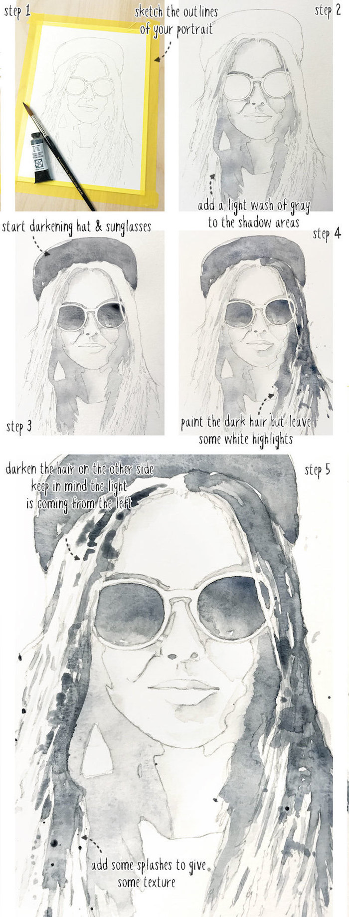 step by step diy tutorial, how to draw a girl, how to paint with watercolors, black and white watercolor painting