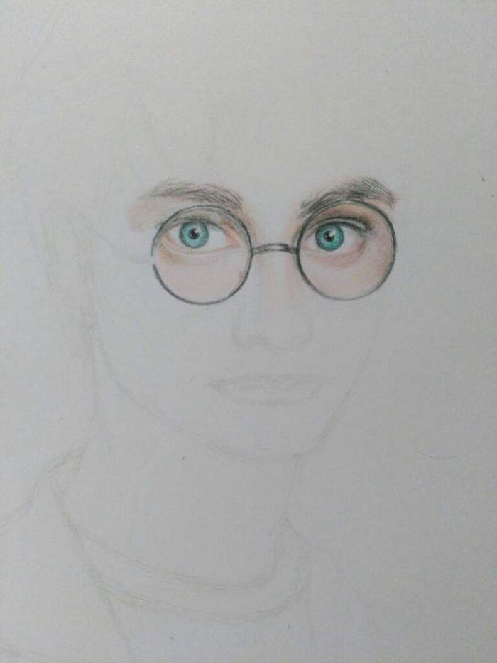 step by step diy tutorial, harry potter drawings easy, black and white pencil outline, colored blue eyes with glasses