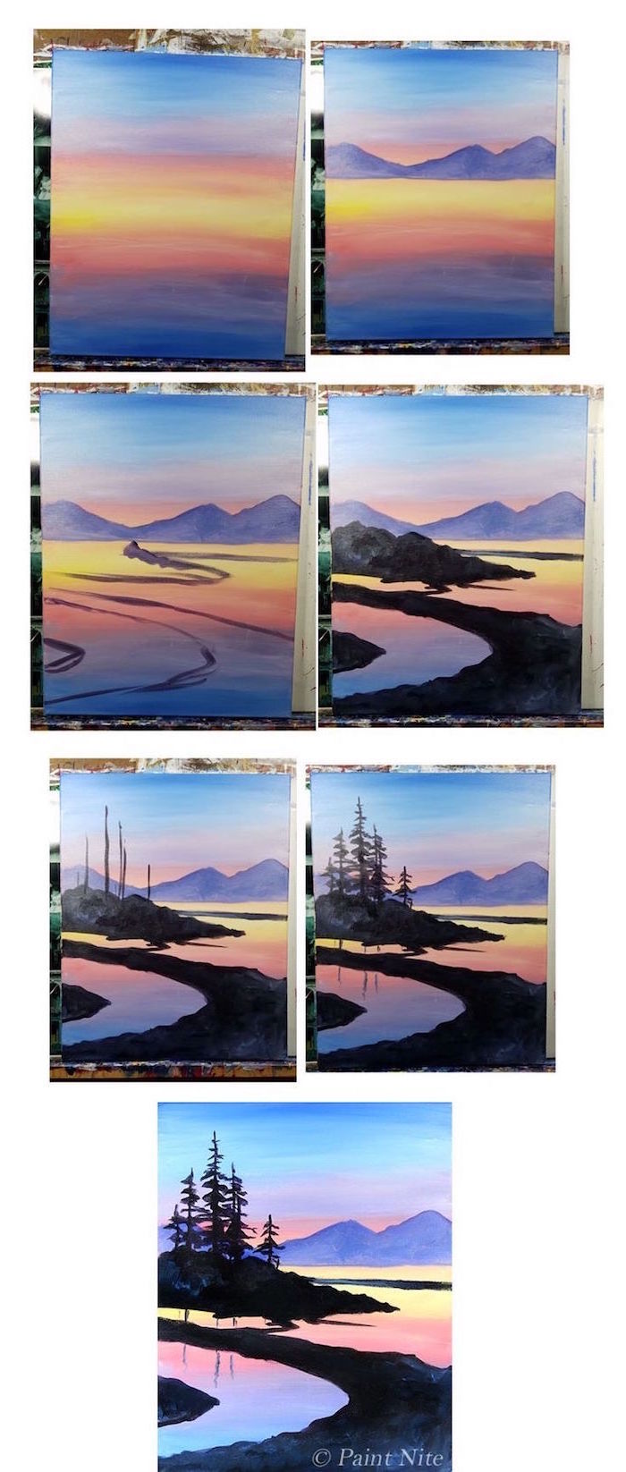 lake landscape, mountains in the background, simple watercolor ideas, painted at sunset