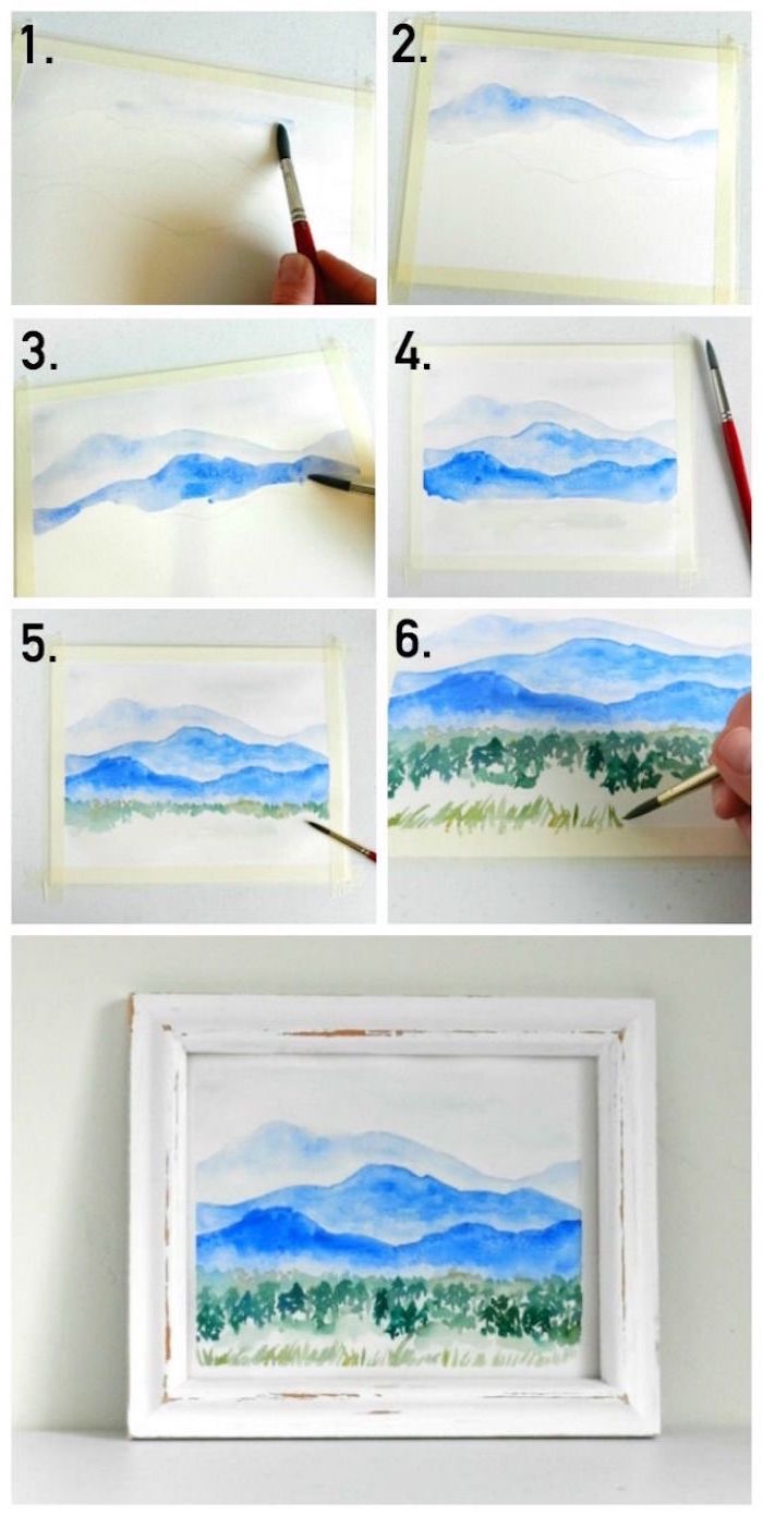 mountain landscape, how to use watercolor, step by step diy tutorial, mountain with a forest