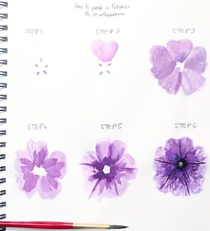 step by step diy tutorial, how to draw a flower, simple watercolor ideas, purple flower, painted in six steps