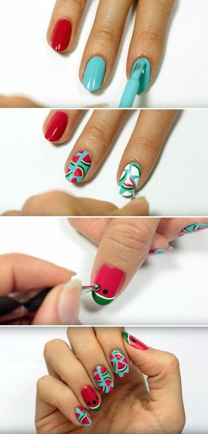 step by step diy tutorial, beach nail designs, orange and blue nail polish, watermelons decorations