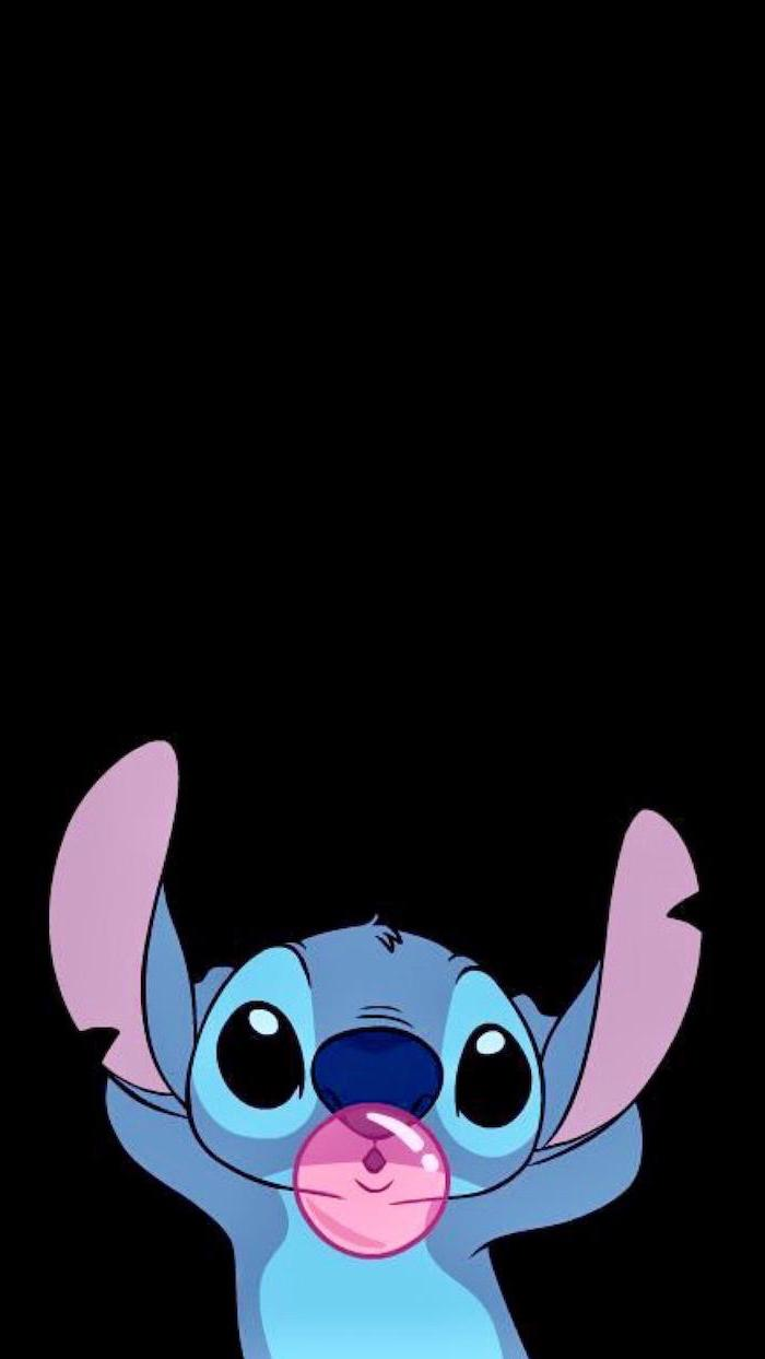stitch from lilo and stitch chewing gum blowing bubbles on black background funny computer wallpaper