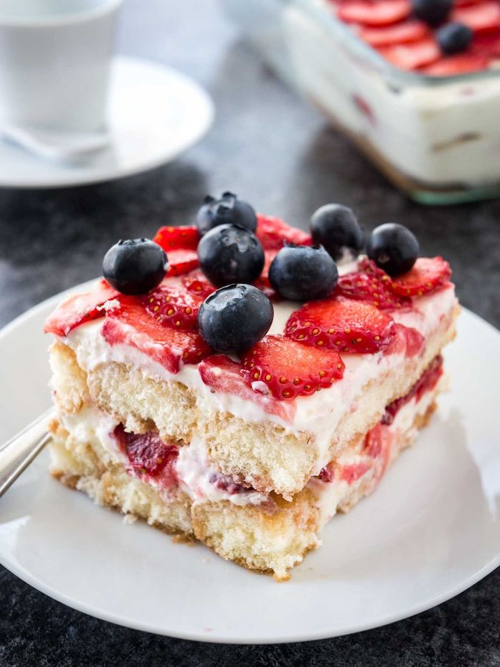 strawberry tiramisu cookcout desserts lady fingers with blueberries and strawberries on white plate