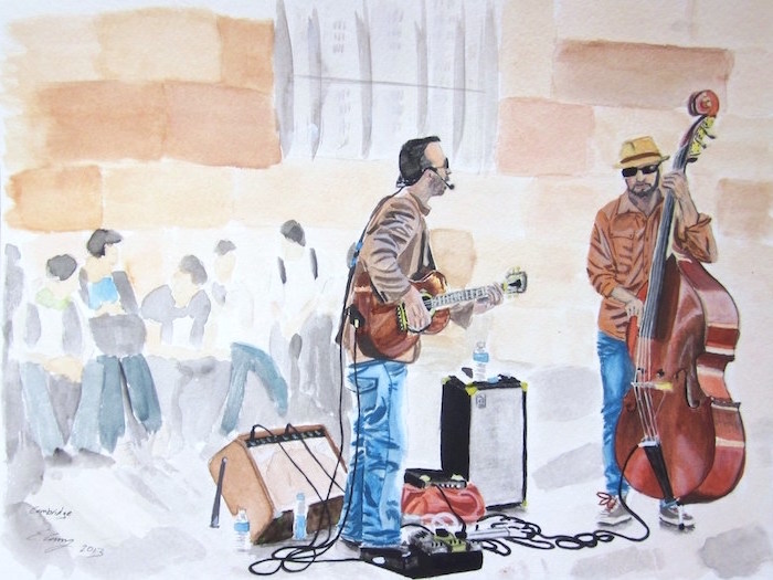street musicians playing instruments, one playing the guitar, another one playing the cello, how to watercolor, people walking by