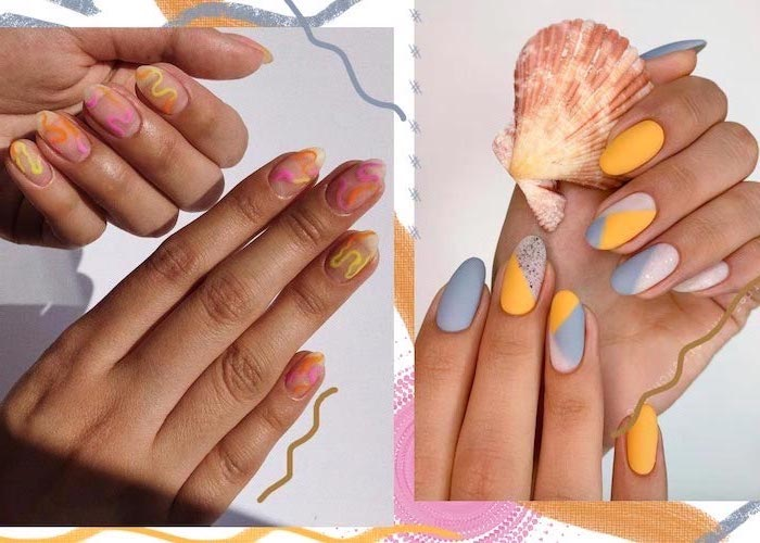 side by side photos, almond nails, beach nail designs, yellow and grey nail polish, abstract decorations