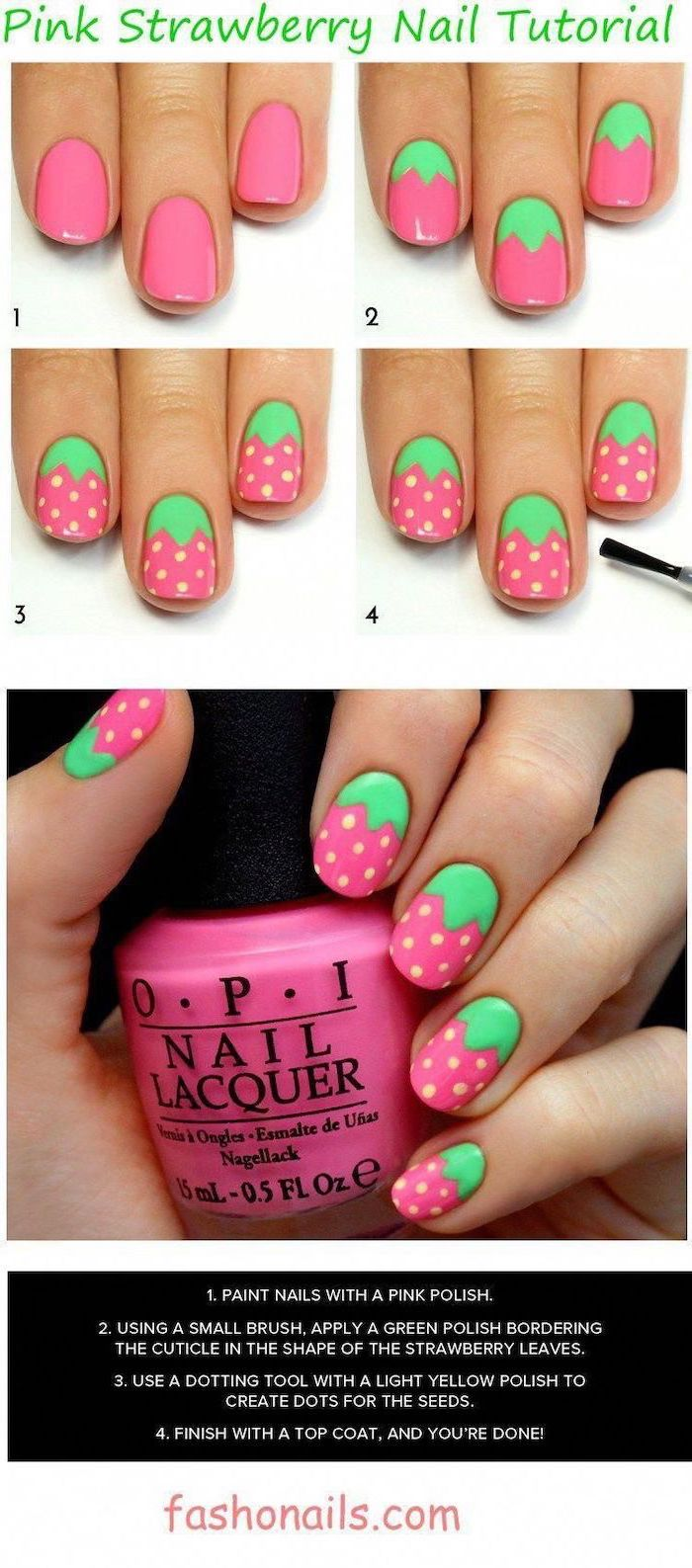 step by step diy tutorial, pink and green nail polish, beach nail designs, strawberries decorations