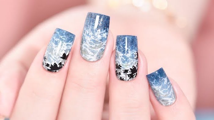 ocean waves decorations, palm trees decorations, beach nail designs, blue and white nail polish, ombre nails