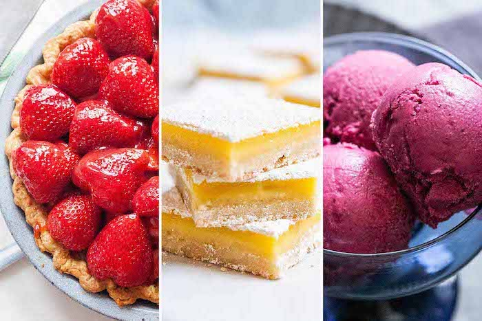 summer desserts three side by side photos of strawberry tart lemon cheesecake berries ice cream