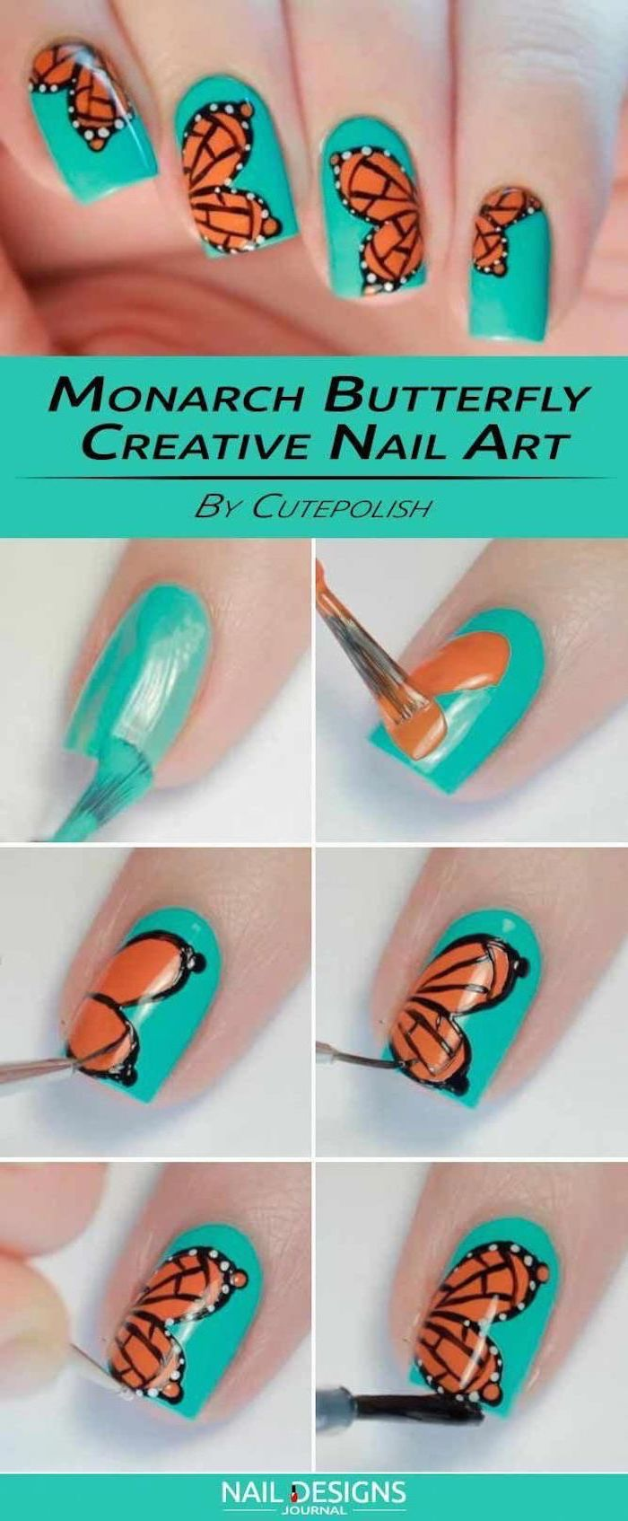 monarch butterfly, step by step diy tutorial, beach nail designs, turquoise nail polish