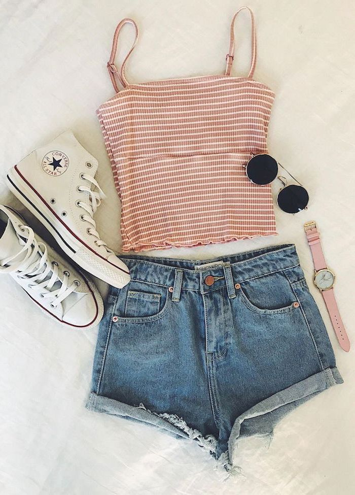 summer outfits jean shorts pink crop top white high top converse sneakers pink wrist watch sunglasses