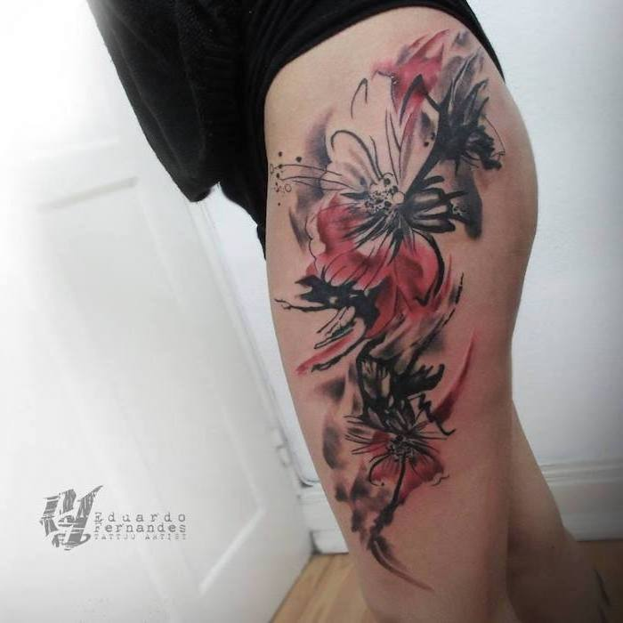 thigh tattoo what is trash polka tattoo red and black flowers with watercolor background