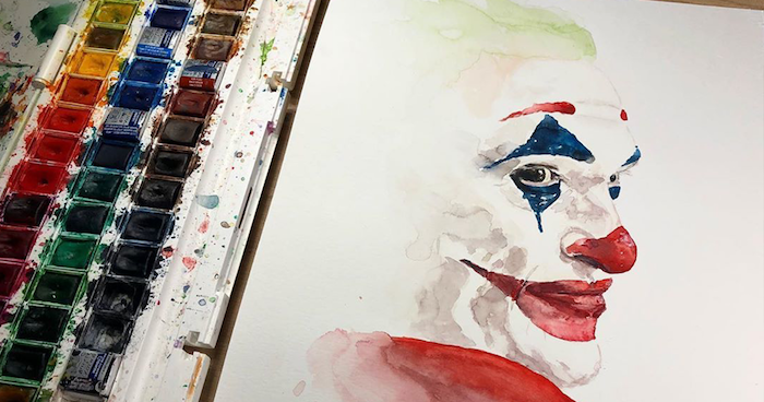 joaquin phoenix as the joker, how to watercolor, painting on white background, red lips and nose
