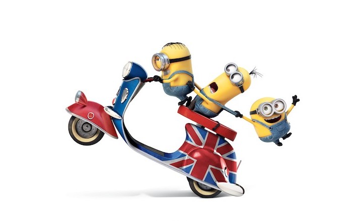 three minions riding a vespa decorated with the british flag funny desktop backgrounds white background