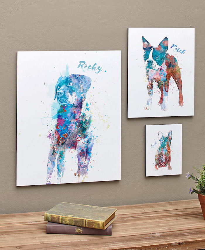 three separate drawings of dogs, how to use watercolor, painted with different colors, white background