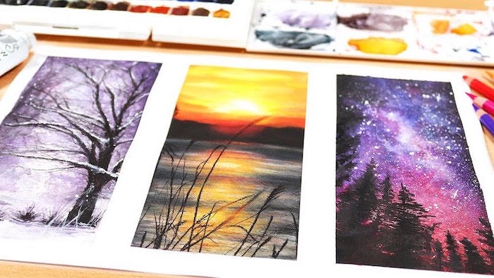 three side by side paintings, how to watercolor, snowy forest landscape, sunset over lake landscape, galaxy sky