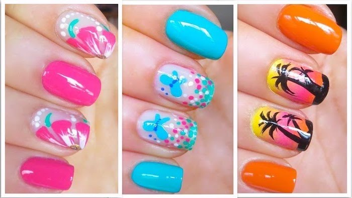 short squoval nails, different colors and decorations, bright summer nails, three side by side photos