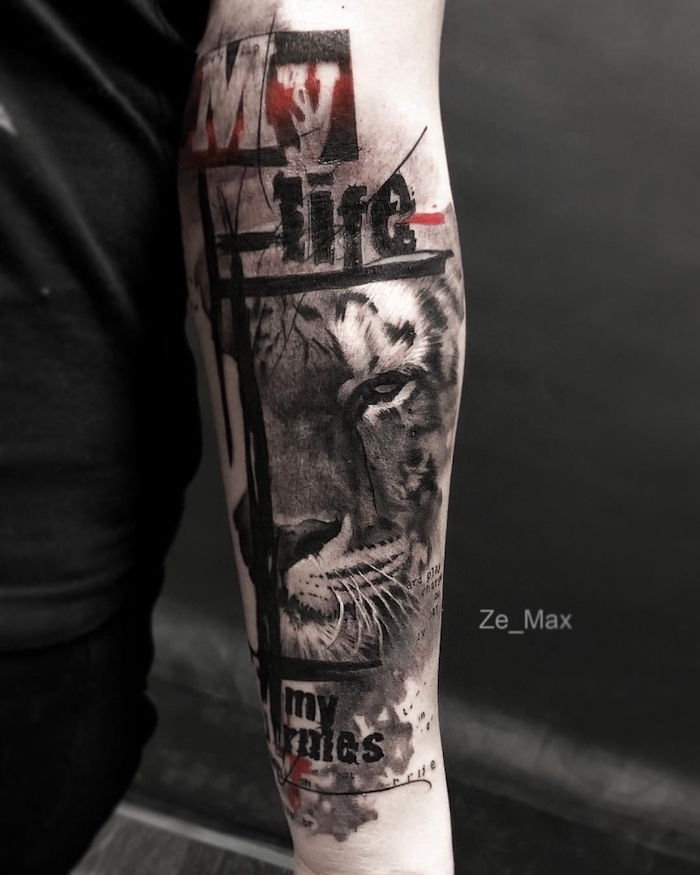 tiger head forearm tattoo in red and black trash polka chest tattoo black background