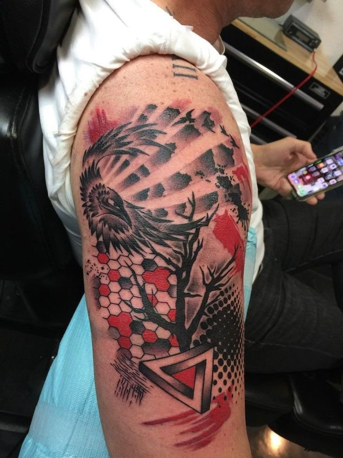 trash polka eagle tattoo shoulder tattoo eagle flying over tree with no leaves black and red tattoos