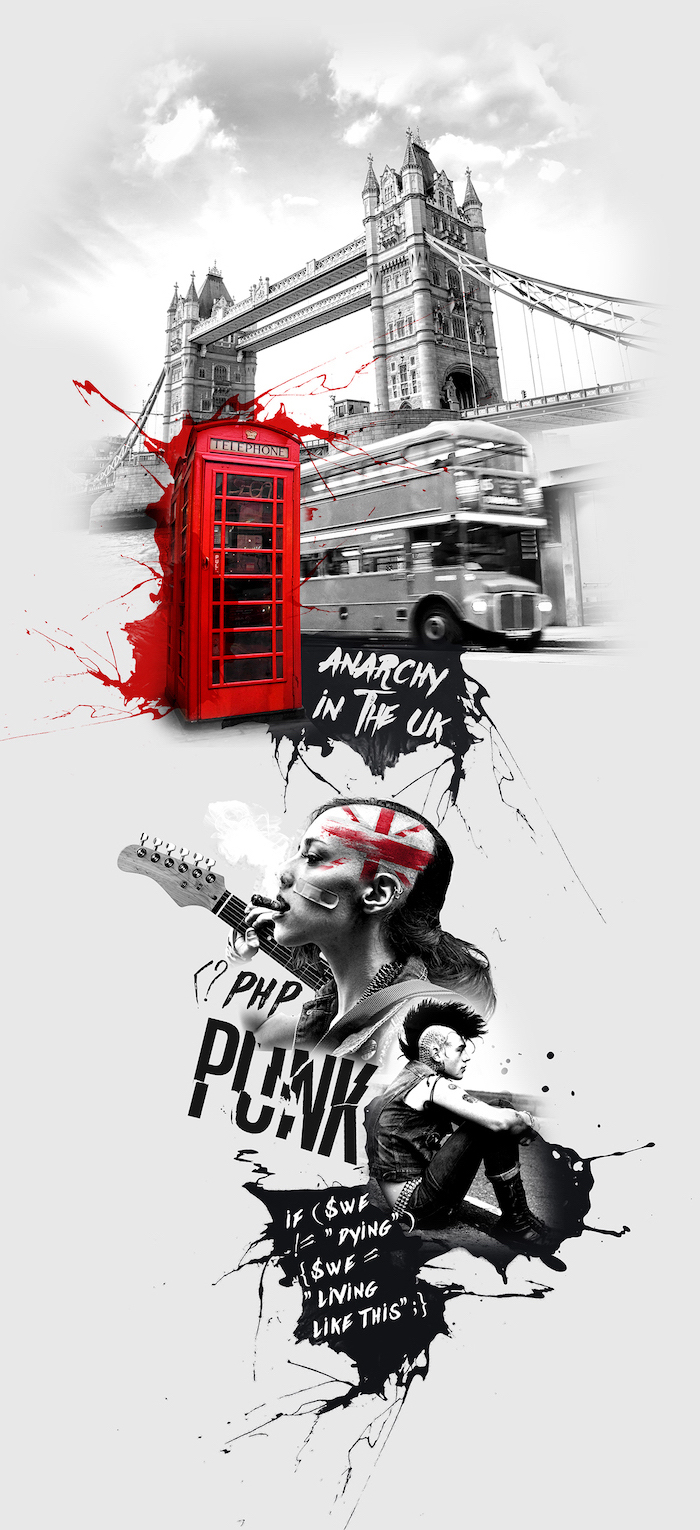 trash polka sleeve tower bridge london landscape bus red phone cabin pink anarchy in the uk photo collage