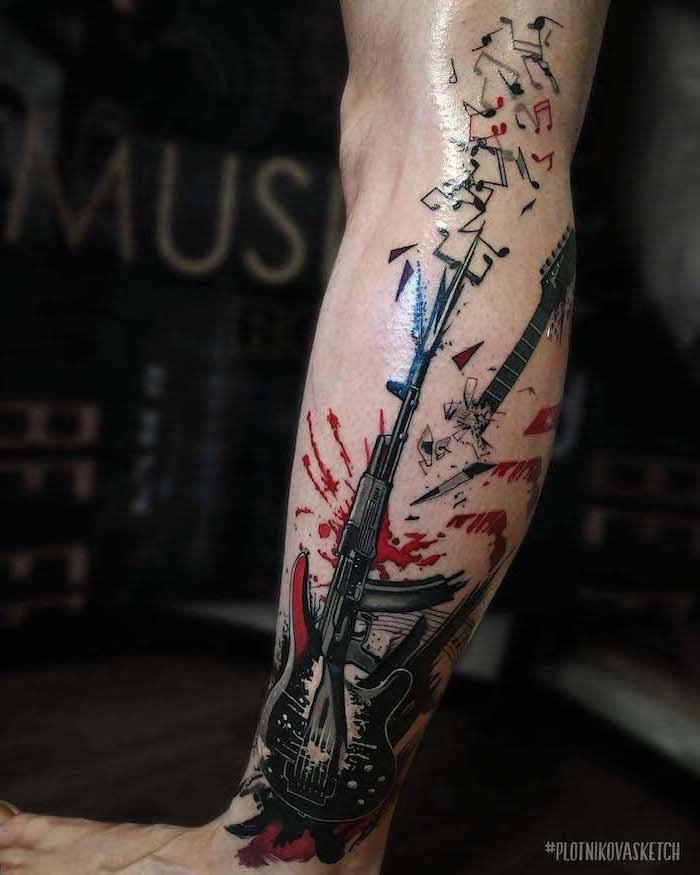 trash polka tattoo design guitar automatic machine gun shooting out musical notes leg tattoo
