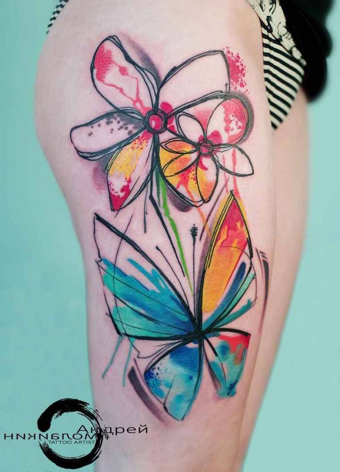 trash polka tattoo sleeve thigh tattoo of flowers and butterfly watercolor tattoo in blue red and orange
