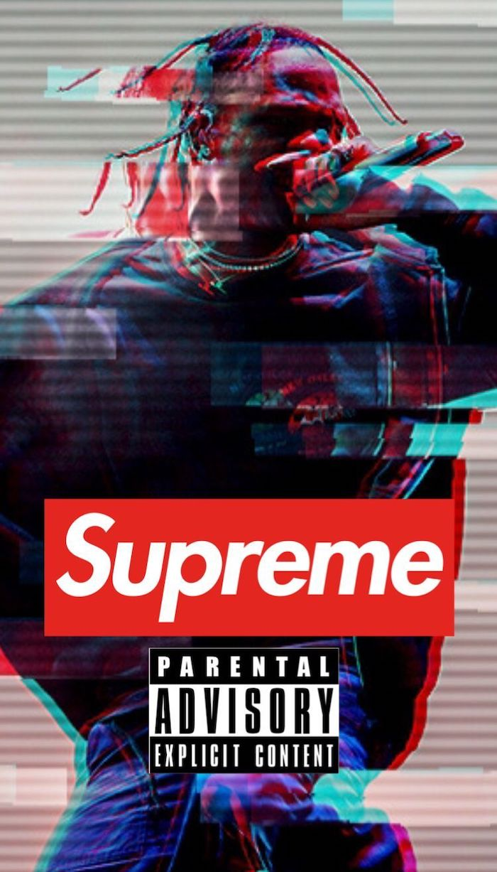 travis scott photo supreme girl wallpaper parental advisory explicit content sign supreme logo in red and white