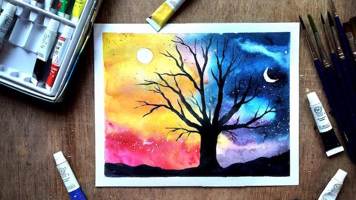 tall black tree with no leaves, how to watercolor, night and day sky in the background, sun and moon