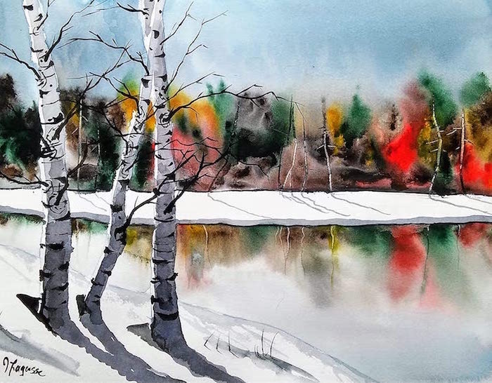 frozen lake landscape, surrounded by tall trees, painted in different colors, how to use watercolor, beach covered with snow