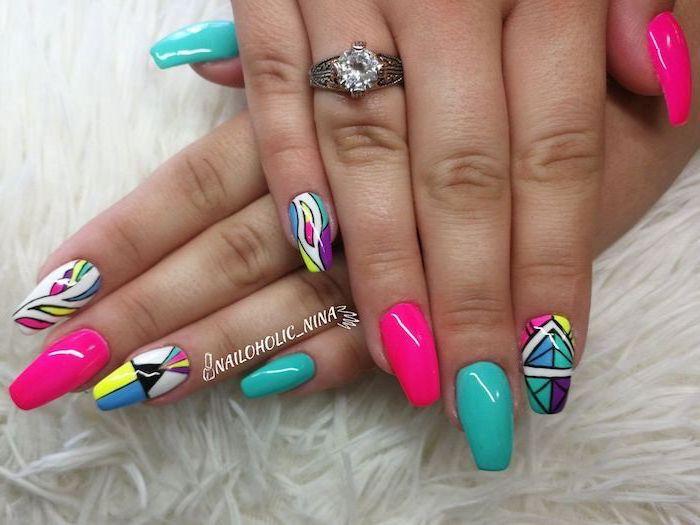 pink and blue nail polish, abstract colorful decorations, bright summer nails, long squoval nails