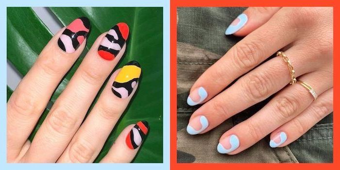two side by side photos, almond nails, summer acrylic nail designs, different colors and decorations