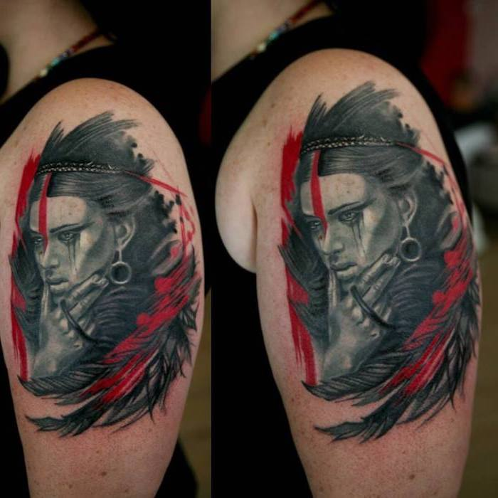 two side by side photos of shoulder tattoo trash polka skull indian woman surrounded by black red feathers