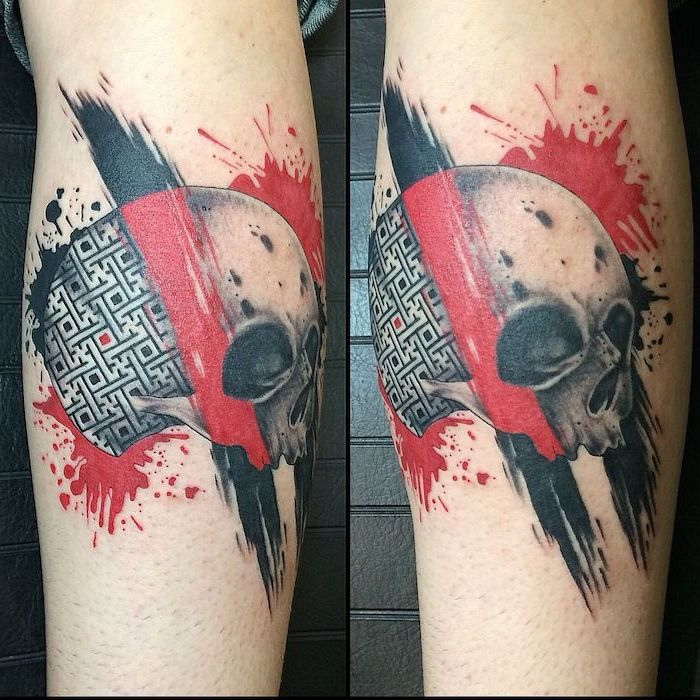 two side by side photos of tattoo on back of leg trash polka eagle tattoo skull with labyrinth red black lines