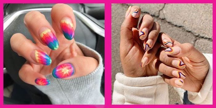 almond nails, different colors and decorations, two side by side photos, summer acrylic nail designs