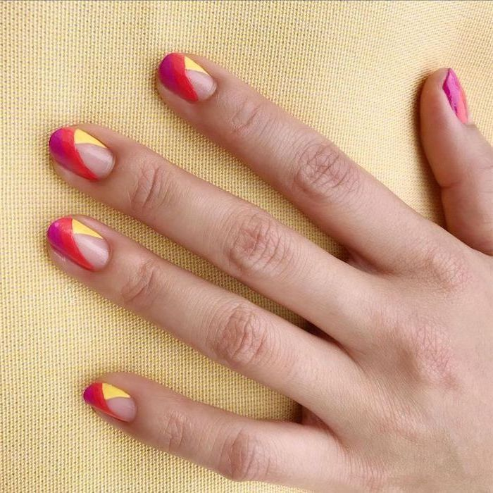 summer acrylic nail designs, red and yellow nail polish, short squoval nails, yellow background