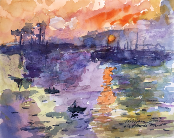 abstract art, how to watercolor, ocean landscape, boats in the water, painted at sunset