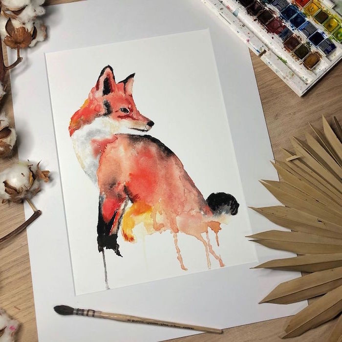 painting of a fox, things to paint with watercolor, painted on white background, black orange and red colors