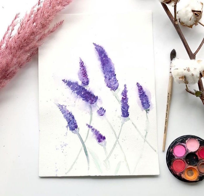 painting of lavender, things to paint with watercolor, painted on white background, placed on white surface