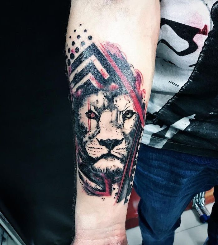 what is trash polka tattoo lion head with one red eye surrounded by red black lines