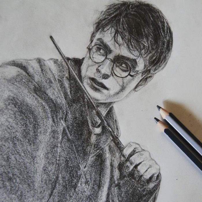 black and white pencil drawing, harry holding his wand, how to draw hogwarts, white background