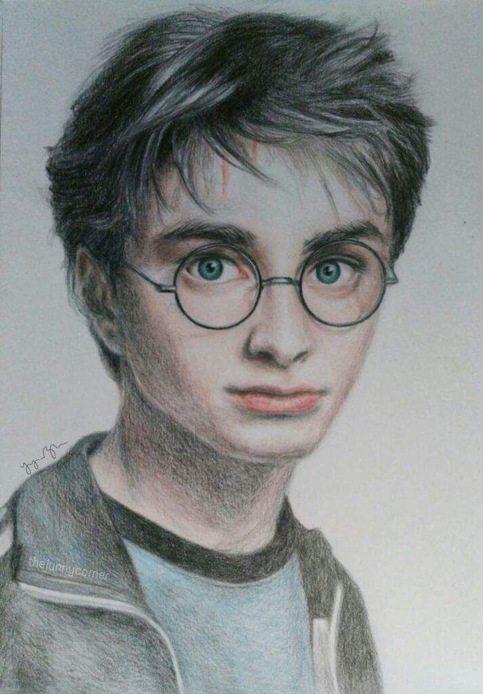 colored pencil drawing, white background, how to draw harry potter, harry from prisoner of azkaban