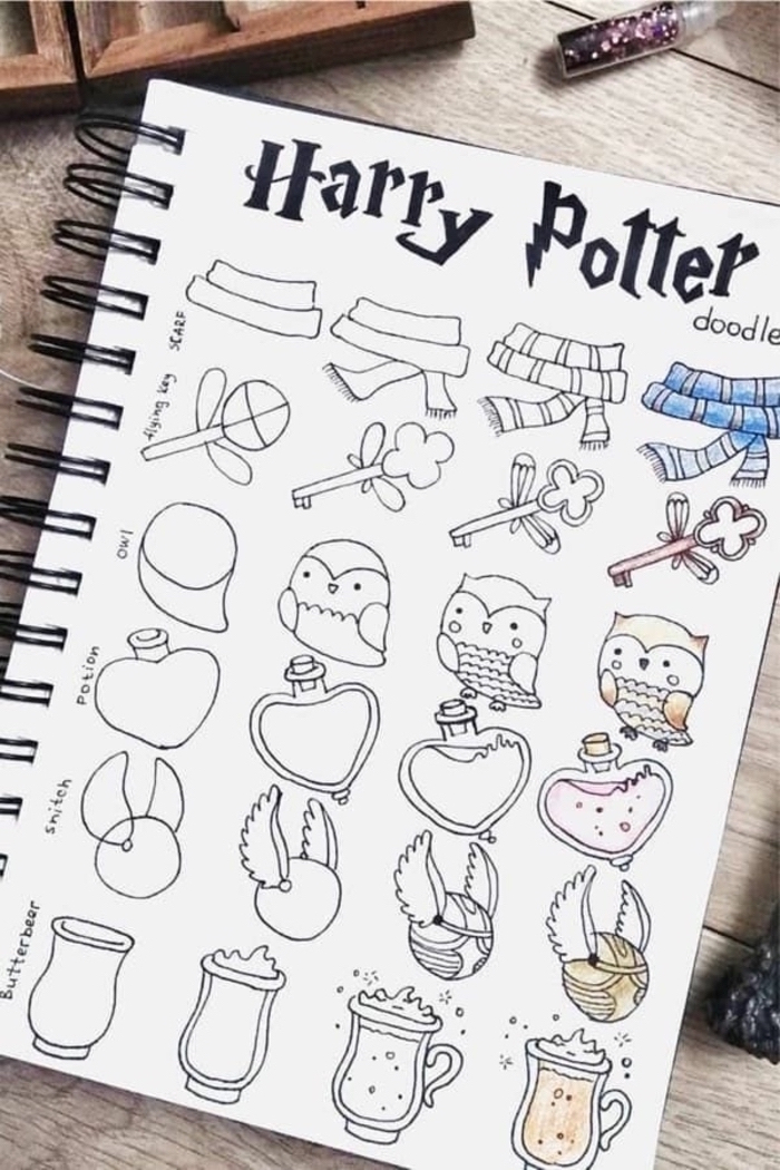how to doodle harry potter, how to draw hogwarts, potions bottle and butterbear, the golden snitch
