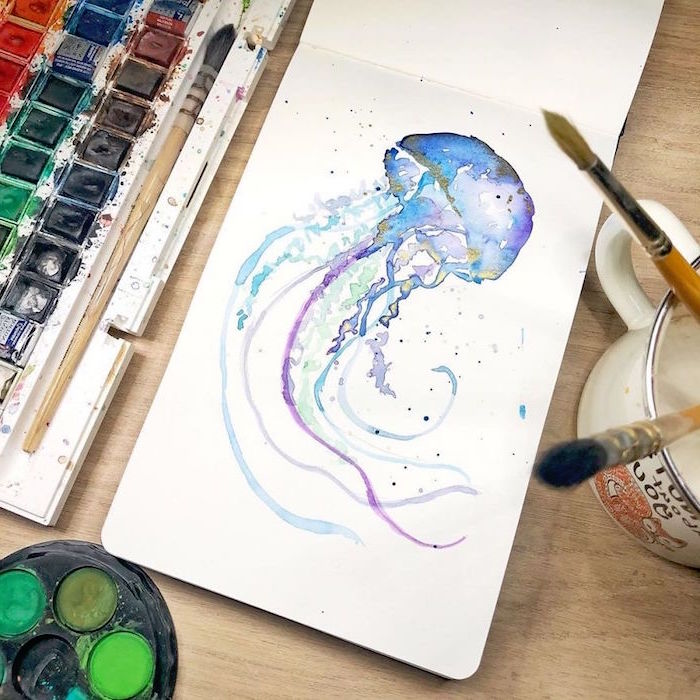 painting of a jellyfish, painted with different colors, things to paint with watercolor, painted on white background