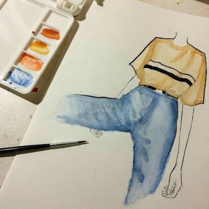 painting of a female silhouette, wearing beige t shirt, blue jeans, things to paint with watercolor, white background