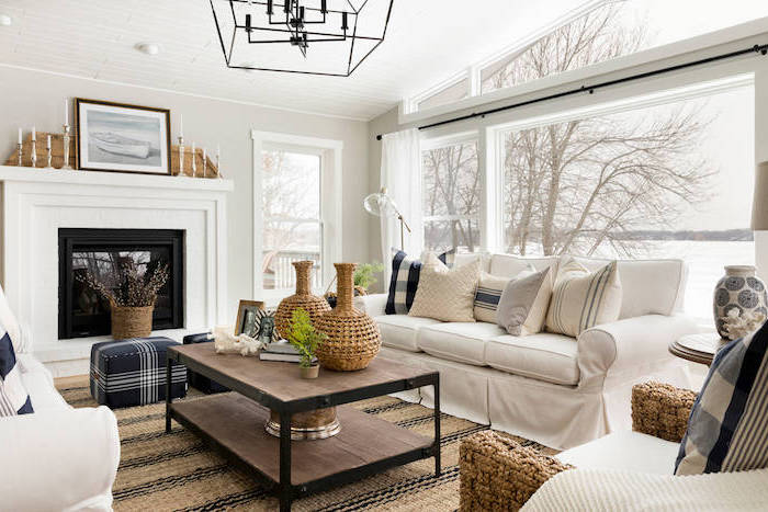 farmhouse living room furniture, white furniture set, placed in front of a fireplace, wooden coffee table