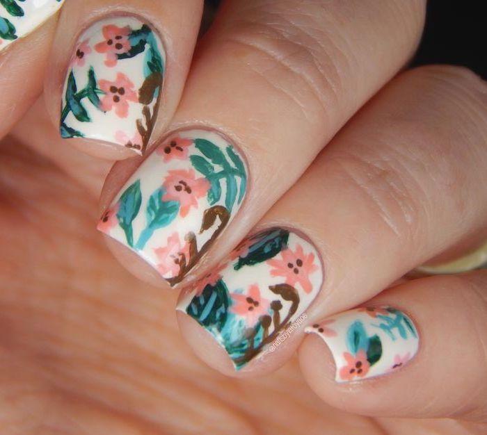 white nail polish, pink flowers decorations, summer acrylic nail designs, short square nails